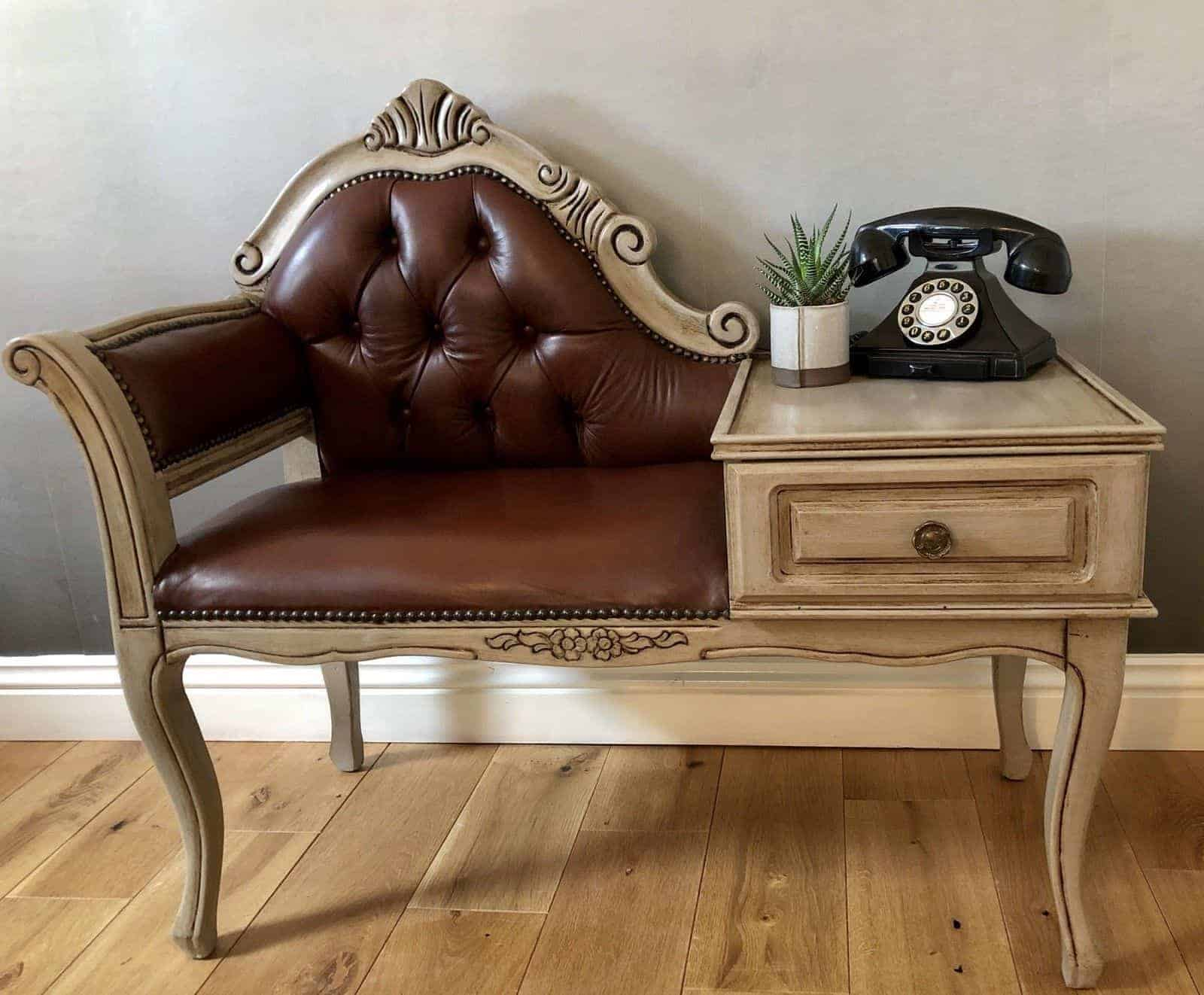 upcycled telephone seat